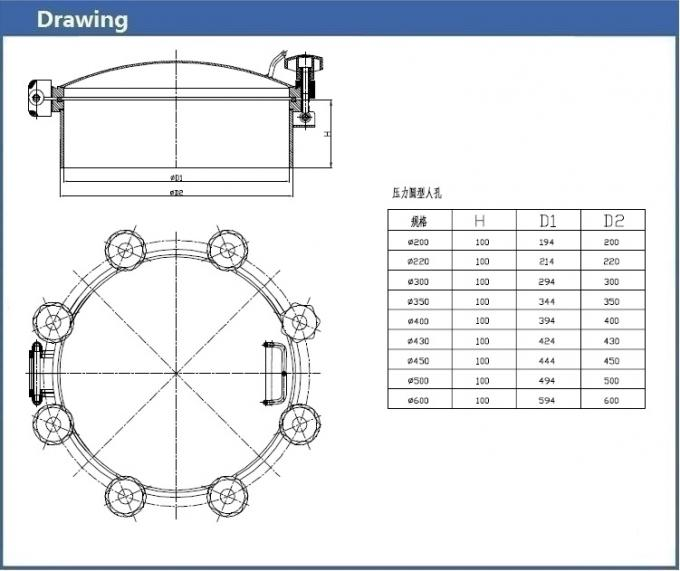 Flange pressure vessel manhole covers stainless steel