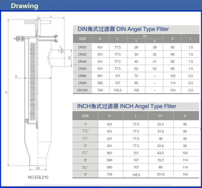 Angle Type Strainer SS04 Pipeline Filter With 30-300 Meshes Screen