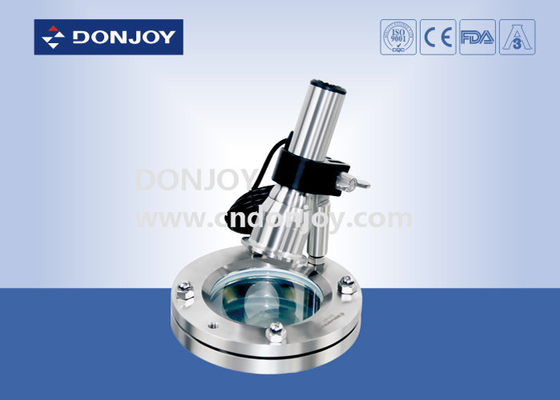 SS304 Multi Angle light Flanged Stainless Steel Sight Glass with Lamp Charging / Cable power supply