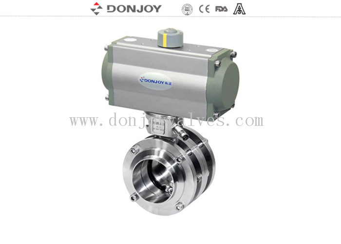 Stainless Steel Sanitary Aluminum Acutor 3 Pecies Flange Butterfly Valves