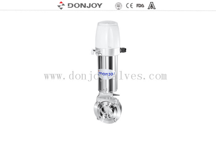 FDA Stainless steel SUS304 double acting sanitary grade pneumatic clamp butterfly valves with controller for food