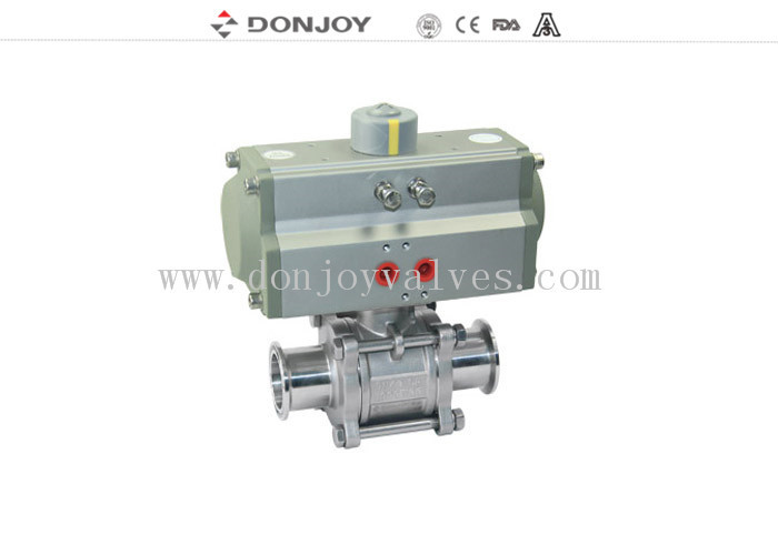 Aluminum pneumatic 3 piece Sanitary Ball Valve with ss304 / 316L