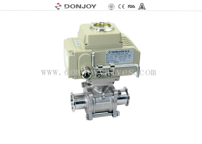 "3A 1"" Electric  3pcs Non-retention full port ball valve with Clamped Connection"