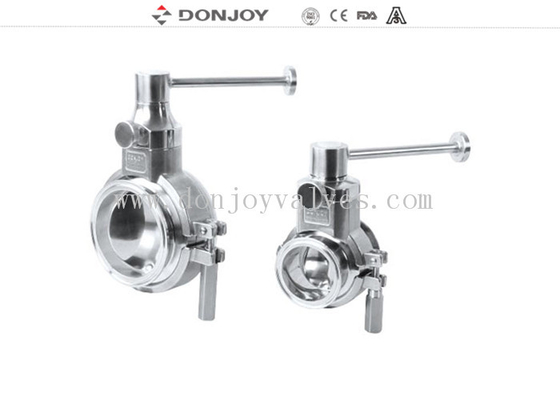 Sanitary grade manual butterfly valve multi position handle for regulating flow
