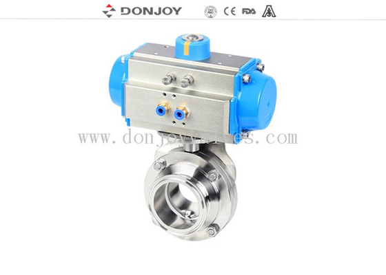 Sanitary Pneumatic Butterfly Valves Aluminum Actuator Stainless Steel 304 316L