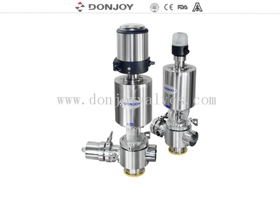 CIP Sanitary Divert Seat Valve Medium Pressure Pneumatic Operated With IL-Top